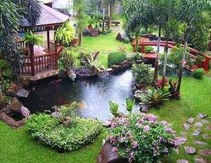 красивые сады с прудом