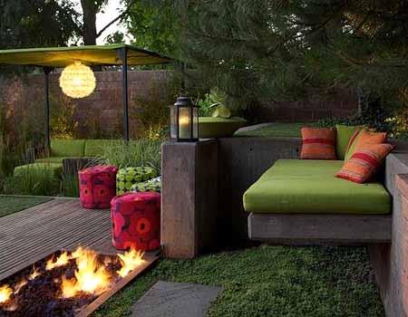 красивый дизайн сада своими руками патио с камином