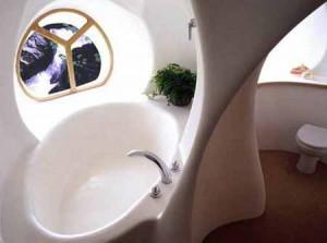 интерьер дачного дома из глины ванная