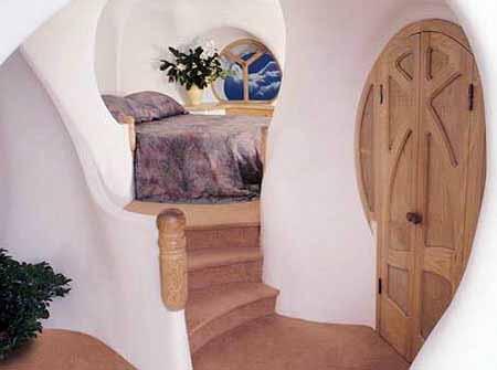 интерьер дачного дома из глины красивая спальня