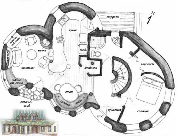 проект дачного дома из глины