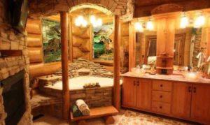 интерьер деревянного дома ванная
