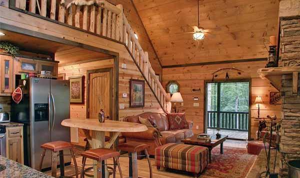 интерьер деревянного дома столовая
