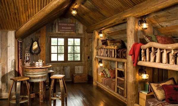 интерьер деревянного дома мансарда