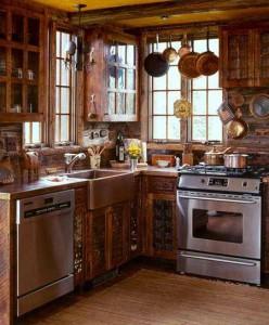 фото интерьера кухни в деревянном доме