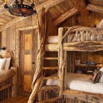 необычный дизайн спальни деревянного дома фото