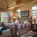 красивая спальня в бревенчатом доме
