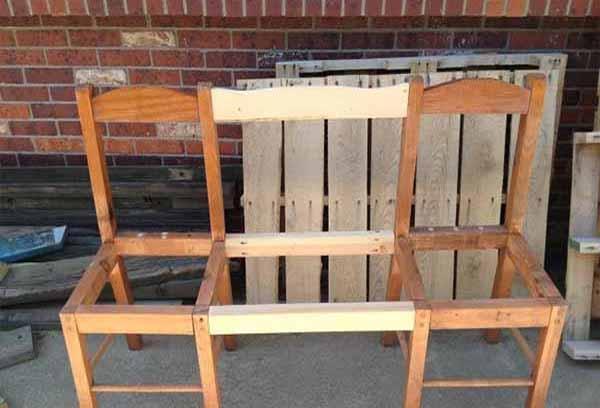 садовая мебель скамейка из стульев