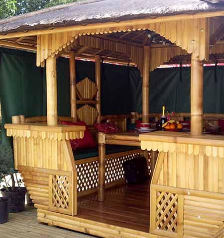 необычные садовые беседки из бамбука