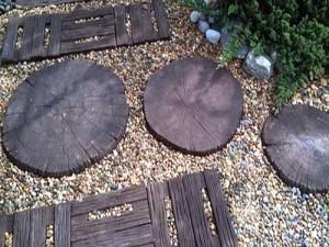 тротуарная плитка для дачи с иммитацией спила дерева