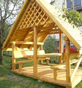 деревянная дачная беседка Избушка