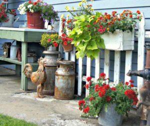 клумбы и цветники из подручных материалов на даче
