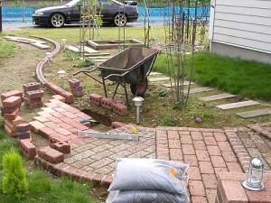 укладка садовой дорожки из кирпича