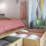 интерьер загородного дома маленькая спальня в нише
