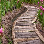 деревянная дорожка на бетонной подушке