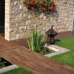 варианты садовых дорожек из дерева