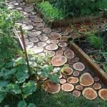 садовые дорожки из деревянных спилов