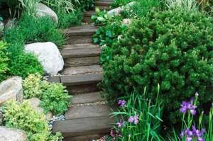 садовые дорожки из деревянных брусьев