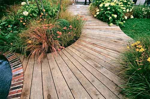 Садовые дорожки из дерева: 100 красивых фото