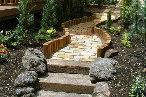 оригинальные садовые дорожки из кирпича