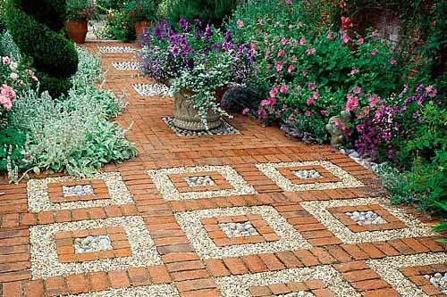 ландшафтный дизайн садовые дорожки из кирпича