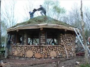 недорогой дачный дом из подручных материалов с травянной крышей