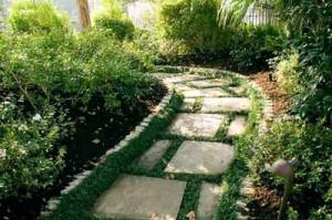 садовая дорожка из тротуарной плитки на садовом участке