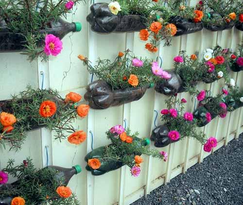 красивые идеи из пластиковых бутылок для сада