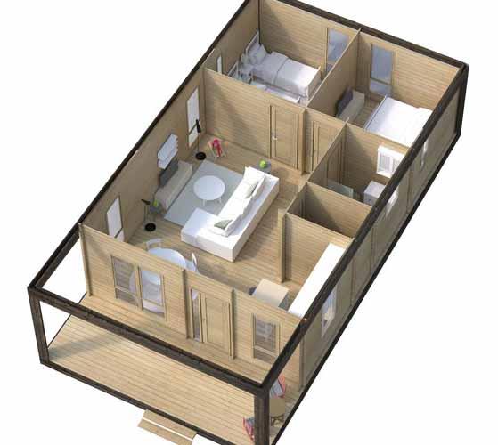 каркасный дом проект дачный домик с двумя спальнями