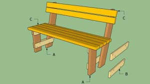 чертеж скамейки со спинкой
