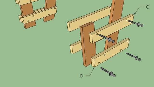 как сделать скамейку со спинкой чертеж