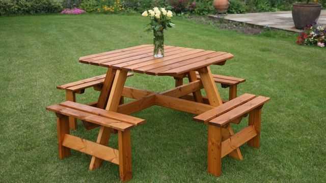 Стол и скамейки из дерева своими руками фото 150