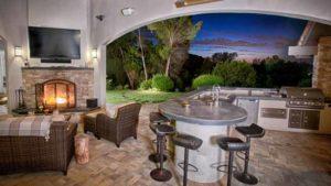проект летней кухни бетонная столешница