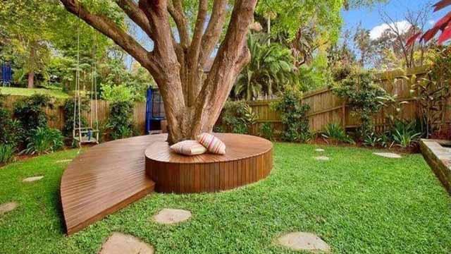 круговая скамейка из дерева