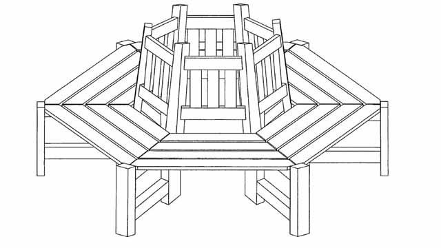 скамейки из дерева чертеж