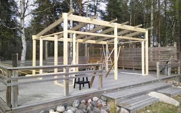двор частного дома фото строительства летней кухни