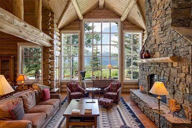 современный деревянный дом внутри