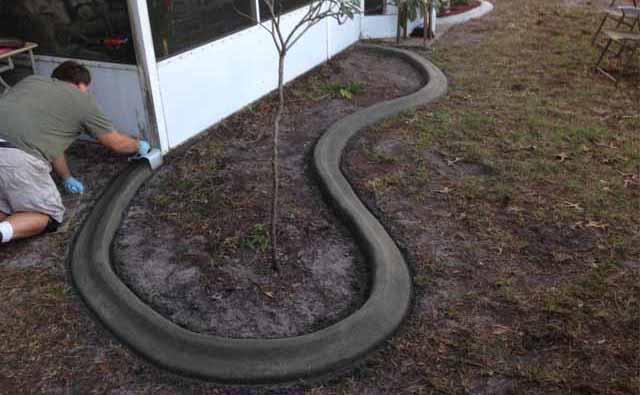 как сделать бетонный садовый бордюр