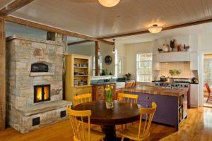 как разместить камин в интерьере кухни