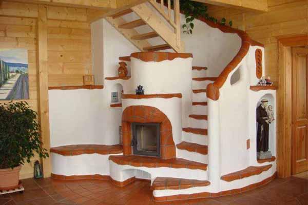 как обустроить место под лестницей печка фото