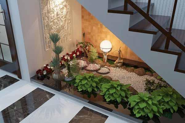 как украсить пространство под лестницей фото