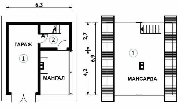 проект гаража с мангалом и мансардой