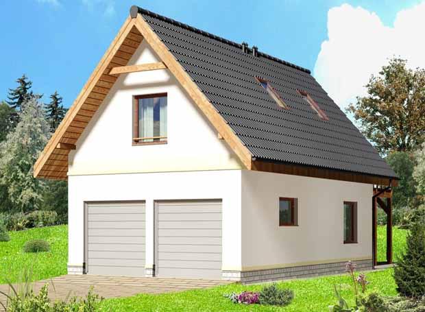 проект гаража с мансардой с двумя спальнями