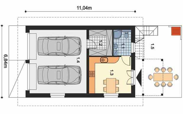 проект гаража на две машины и хозблоком