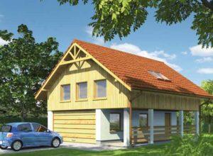 проект гаража с мансардой и террасой