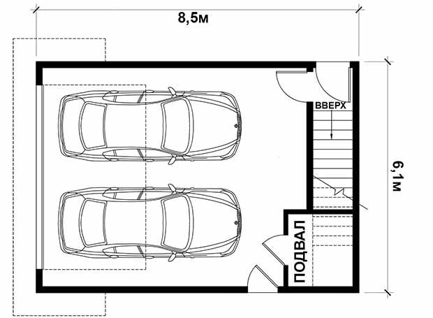 проект гаража с мансардой. план гаража