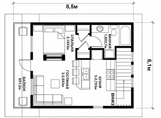 проект гаража с мансардой. план мансарды
