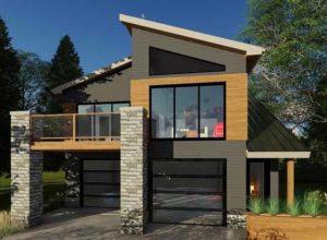 современный проект гаража с мансардой