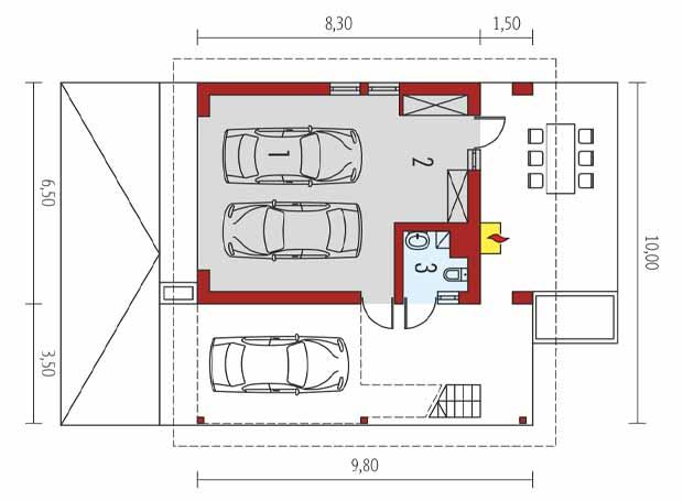 проект гаража на три машины с мансардой