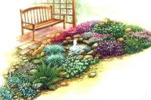 Схема красивого цветника с маленьким фонтаном